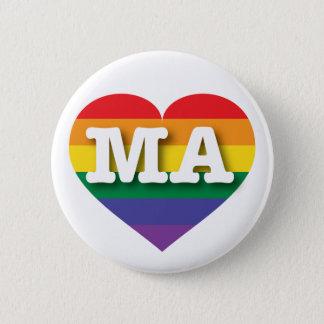 Massachusetts Gay Pride Rainbow Heart - Big Love Pinback Button