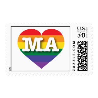Massachusetts Gay Pride Rainbow Heart - Big Love Postage