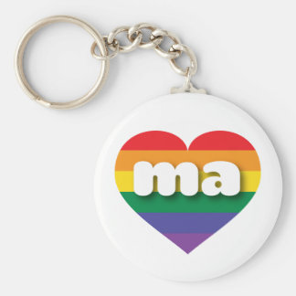 Massachusetts gay pride rainbow heart - mini love basic round button keychain