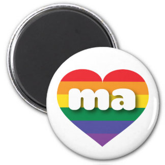 Massachusetts gay pride rainbow heart - mini love magnet