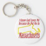 Massachusetts - God Loves Me Keychain