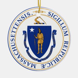 Massachusetts Great Seal Ceramic Ornament