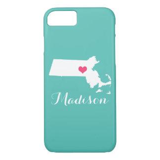 Massachusetts Heart Aqua Custom Monogram iPhone 7 Case