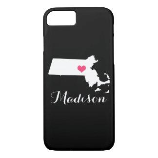 Massachusetts Heart Black Custom Monogram iPhone 7 Case
