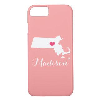 Massachusetts Heart Coral Custom Monogram iPhone 7 Case