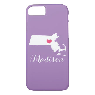 Massachusetts Heart Lilac Custom Monogram iPhone 7 Case
