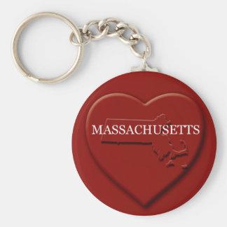 Massachusetts Heart Map Keychain