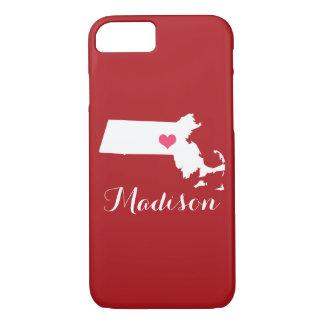 Massachusetts Heart Maroon Custom Monogram iPhone 7 Case