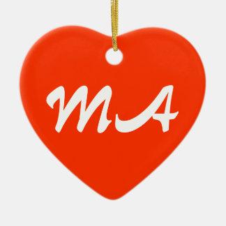 Massachusetts Heart Ornament
