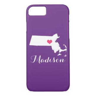 Massachusetts Heart Purple Custom Monogram iPhone 7 Case