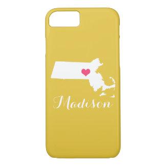 Massachusetts Heart Yellow Custom Monogram iPhone 7 Case