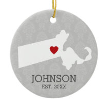 Massachusetts Home State City Map - Custom Wedding Ceramic Ornament