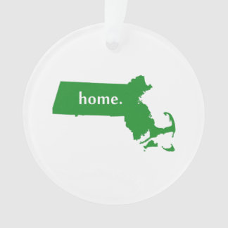 Massachusetts Home State Green Ornament