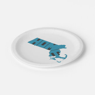 Massachusetts Home State 7 Inch Paper Plate