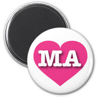 Massachusetts hot pink heart magnets