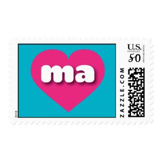 Massachusetts hot pink heart - mini love postage