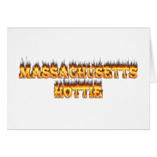 massachusetts hottie fire and flames greeting card
