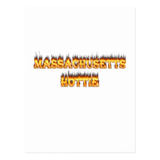 massachusetts hottie fire and flames postcard