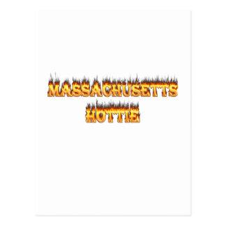 massachusetts hottie fire and flames postcard