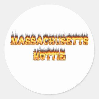 massachusetts hottie fire and flames sticker