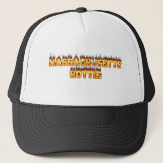 massachusetts hottie fire and flames trucker hat