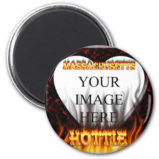 Massachusetts Hottie fire and red marble heart. 2 Inch Round Magnet
