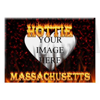 Massachusetts Hottie fire and red marble heart. Card