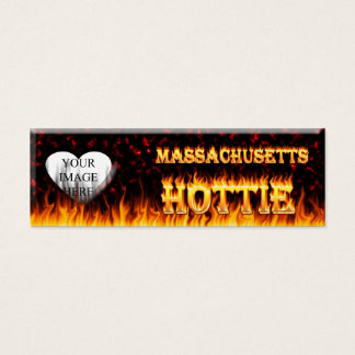 Massachusetts Hottie fire and red marble heart. Mini Business Card