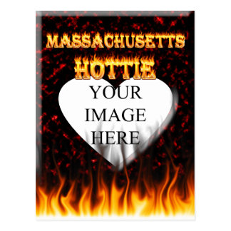 Massachusetts Hottie fire and red marble heart. Postcard