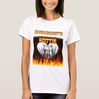 Massachusetts Hottie fire and red marble heart. T-Shirt