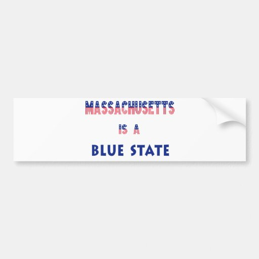Massachusetts is a Blue State Bumper Sticker