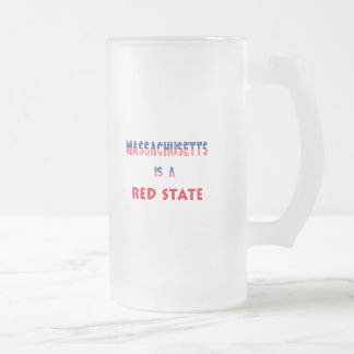 Massachusetts is a Red State Frosted Glass Beer Mug