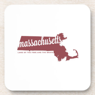 massachusetts | land of the free | apple red drink coaster