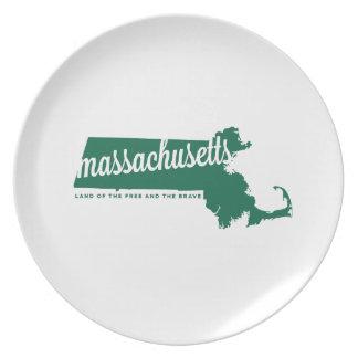 massachusetts | land of the free | green dinner plate