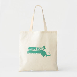 massachusetts | land of the free | ice teal tote bag