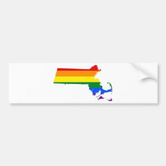 Massachusetts LGBT Flag Map Bumper Sticker