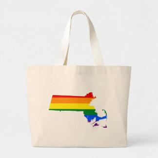 Massachusetts LGBT Flag Map Large Tote Bag