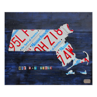 Massachusetts License Plate Map by Design Turnpike Poster