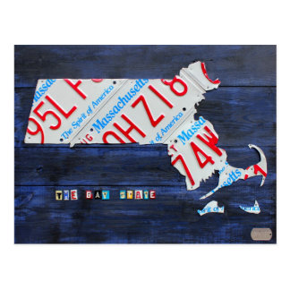 Massachusetts License Plate Map Postcard