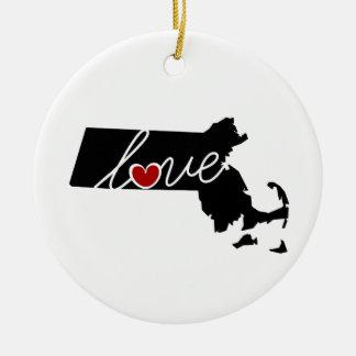 Massachusetts Love!  Gifts for MA Lovers Ceramic Ornament