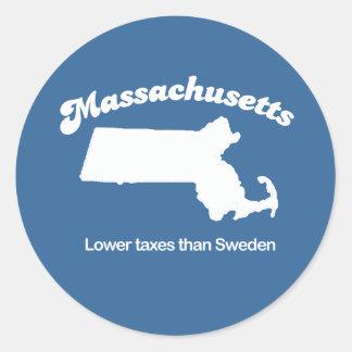 Massachusetts - Lower taxes than Sweden T-shirt Classic Round Sticker
