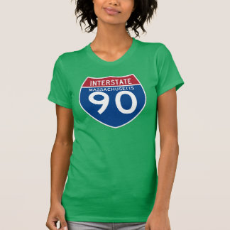 Massachusetts MA I-90 Interstate Highway Shield - T-Shirt