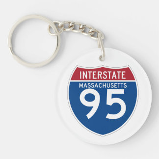 Massachusetts MA I-95 Interstate Highway Shield - Double-Sided Round Acrylic Keychain