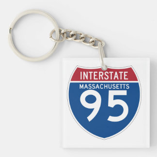 Massachusetts MA I-95 Interstate Highway Shield - Double-Sided Square Acrylic Keychain