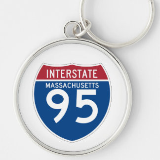 Massachusetts MA I-95 Interstate Highway Shield - Silver-Colored Round Keychain
