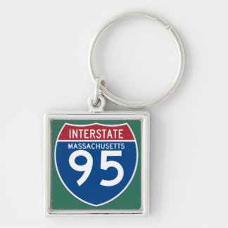 Massachusetts MA I-95 Interstate Highway Shield - Silver-Colored Square Keychain