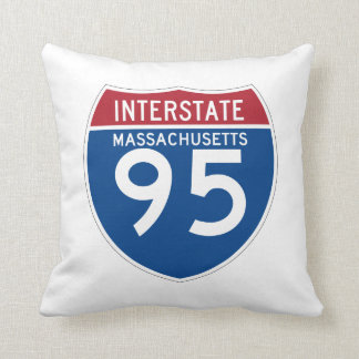 Massachusetts MA I-95 Interstate Highway Shield - Throw Pillow
