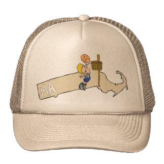 Massachusetts MA Map & Basketball Cartoon Art Mesh Hats