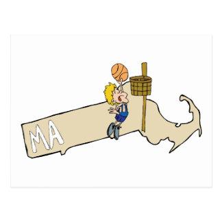 Massachusetts MA Map & Basketball Cartoon Art Postcard
