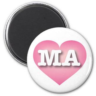 Massachusetts MA pink fade heart Magnets